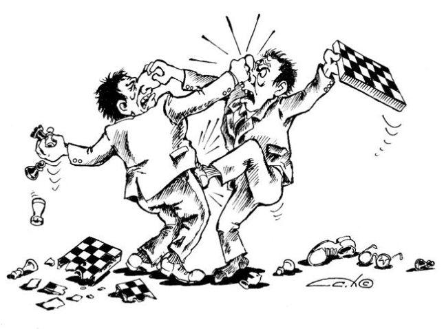 картинка - шахматисты дерутся